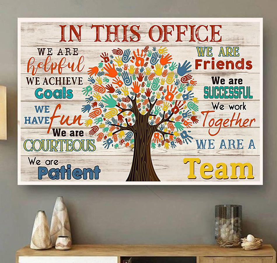 In This Office Social Worker Tree poster canvas wall art