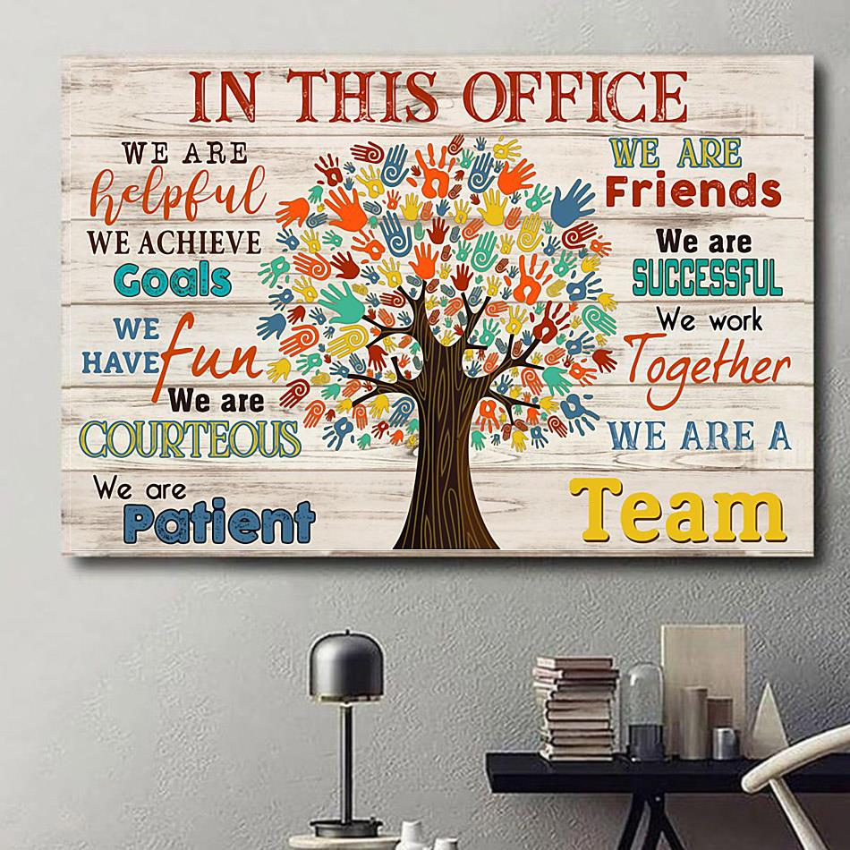 In This Office Social Worker Tree poster canvas