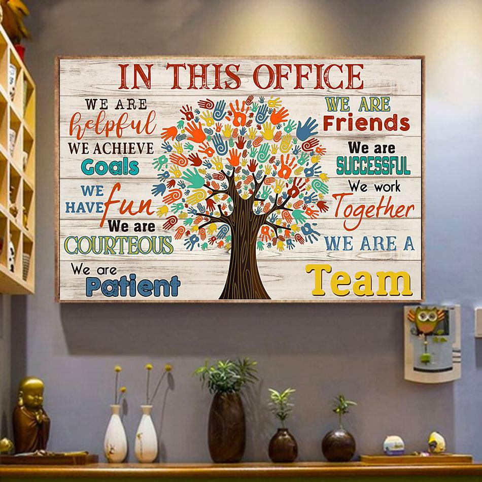 In This Office Social Worker Tree poster canvas wrapped canvas