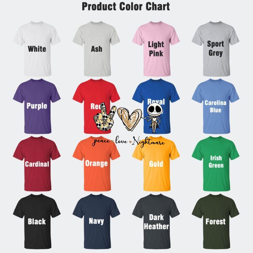 Jack Skellington sign peace love nightmare t-s Camaelshirt Color chart