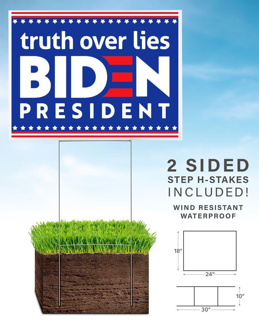 Joe Biden president truth over lies Anti Trump 2020 yard sign home
