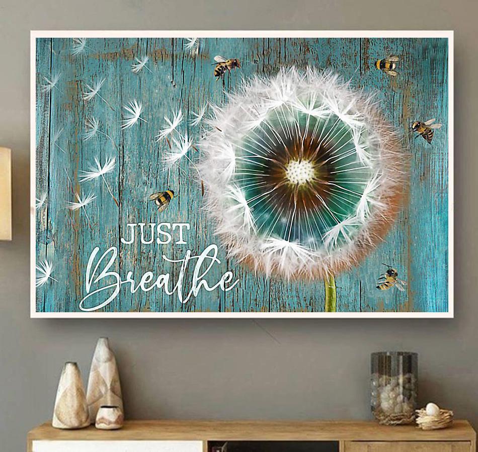 Just Breathe dandelion canvas wall art