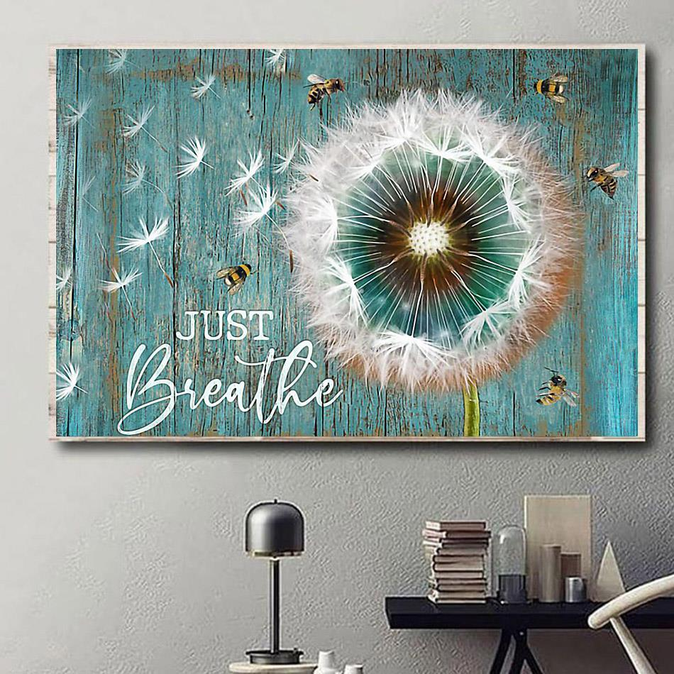 Just Breathe dandelion canvas