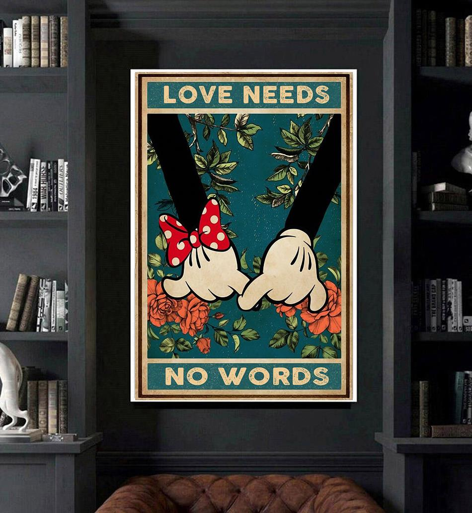 Love needs no words mickey mouse poster art