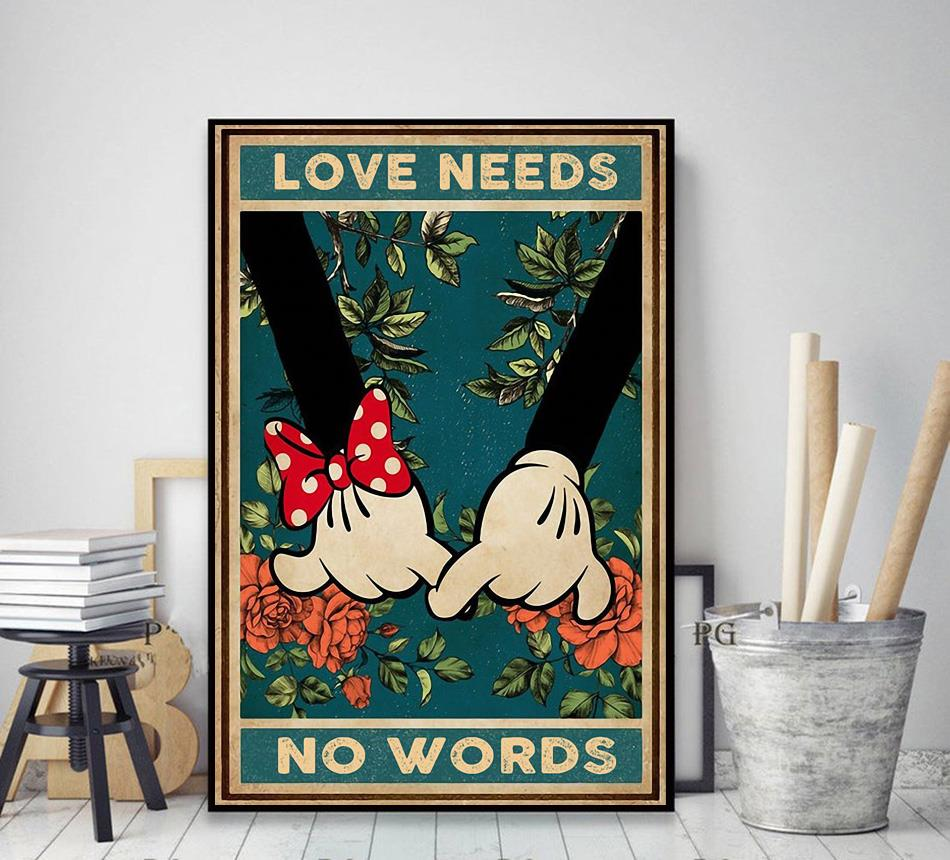 Love needs no words mickey mouse poster