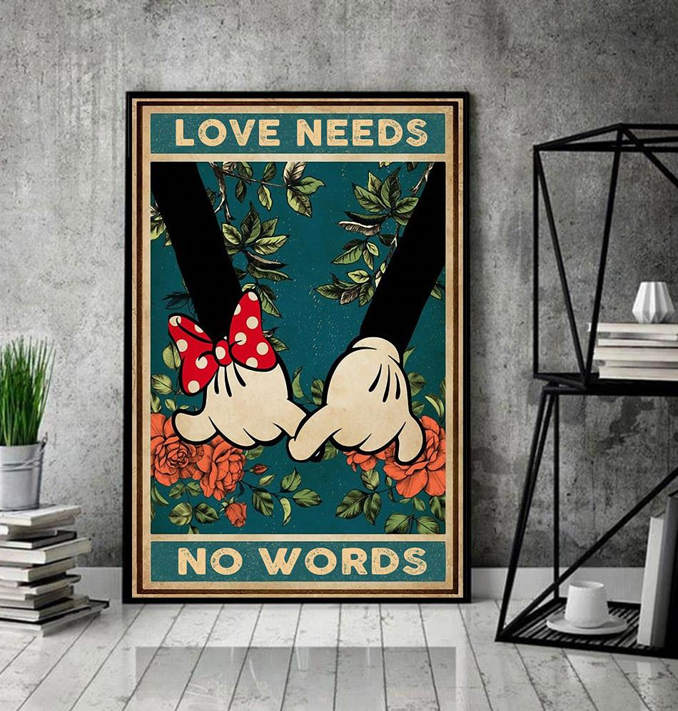 Love needs no words mickey mouse poster decor