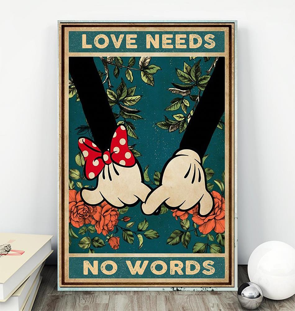 Love needs no words mickey mouse poster wall