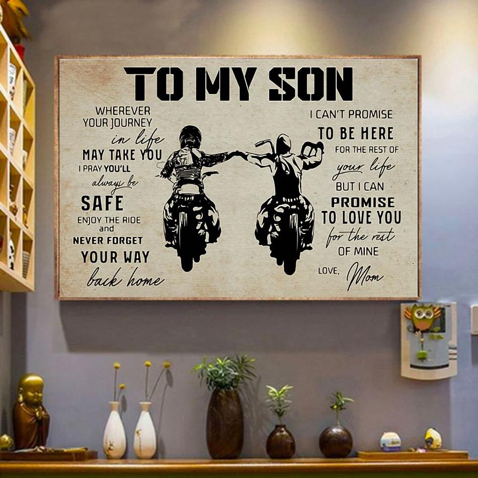 Motorcycle to my son wherever your journey in life may take you ride poster canvas wrapped canvas