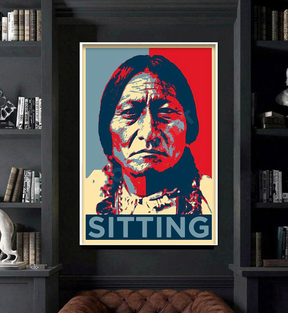 Native American sitting original art poster art