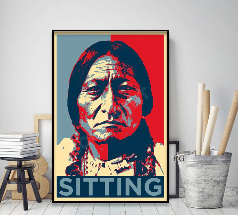 Native American sitting original art poster