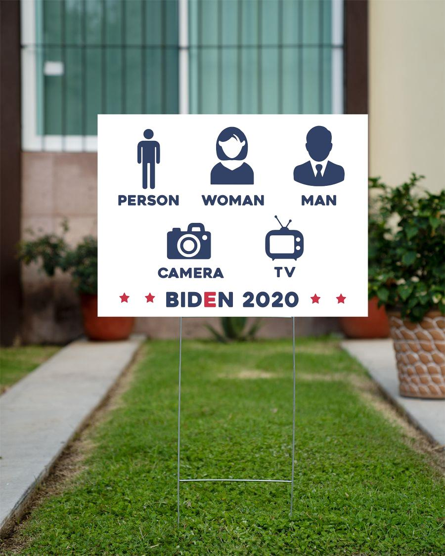 Person woman man camera tv yard sign anti Trump