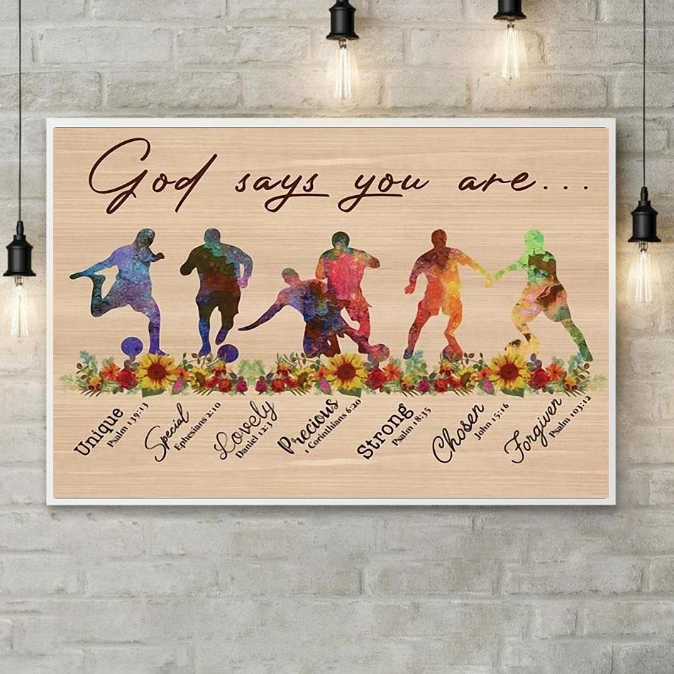 Soccer God says you are horizontal canvas poster