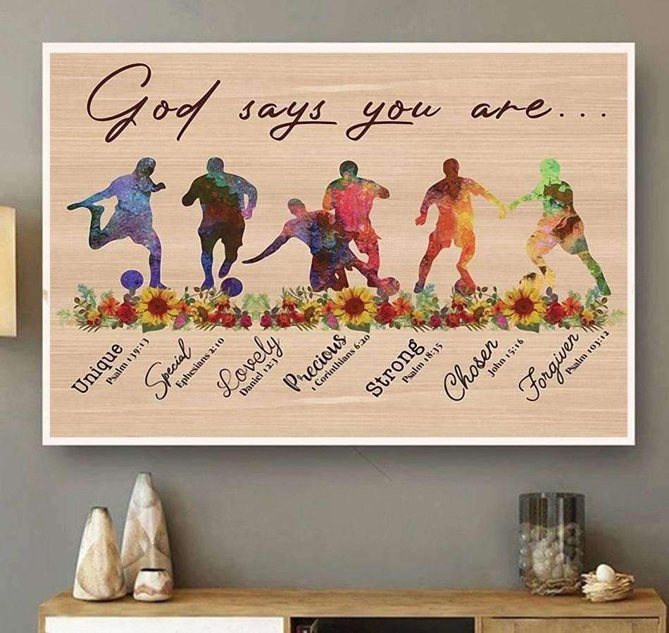 Soccer God says you are horizontal canvas wall art