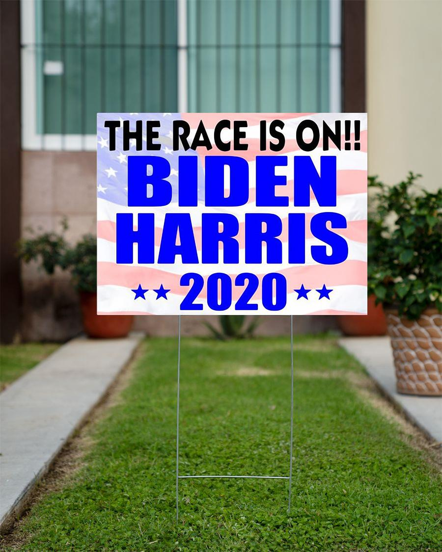 The Race is on Biden Harris 2020 yard sign