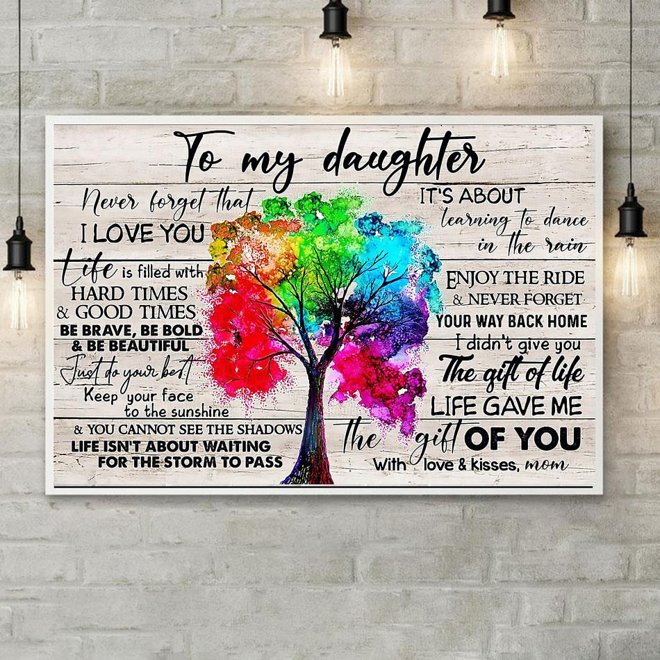 Tree canvas to my daughter never forget that I love you poster