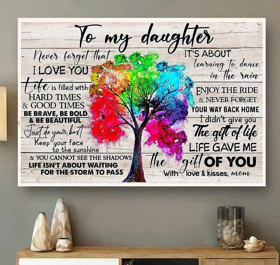 Tree canvas to my daughter never forget that I love you wall art