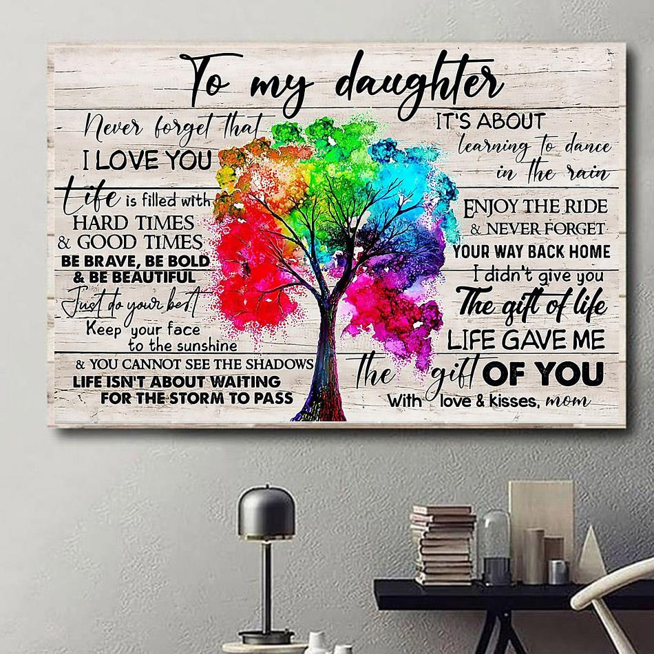 Tree canvas to my daughter never forget that I love you