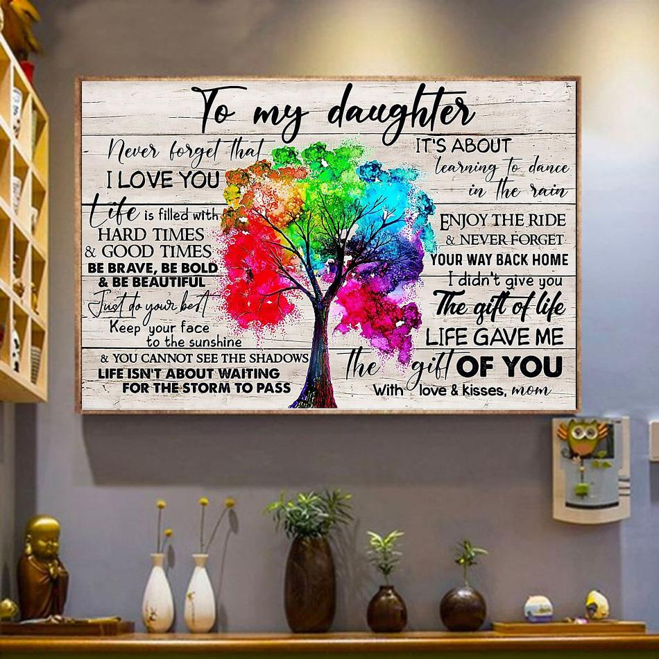 Tree canvas to my daughter never forget that I love you wrapped canvas