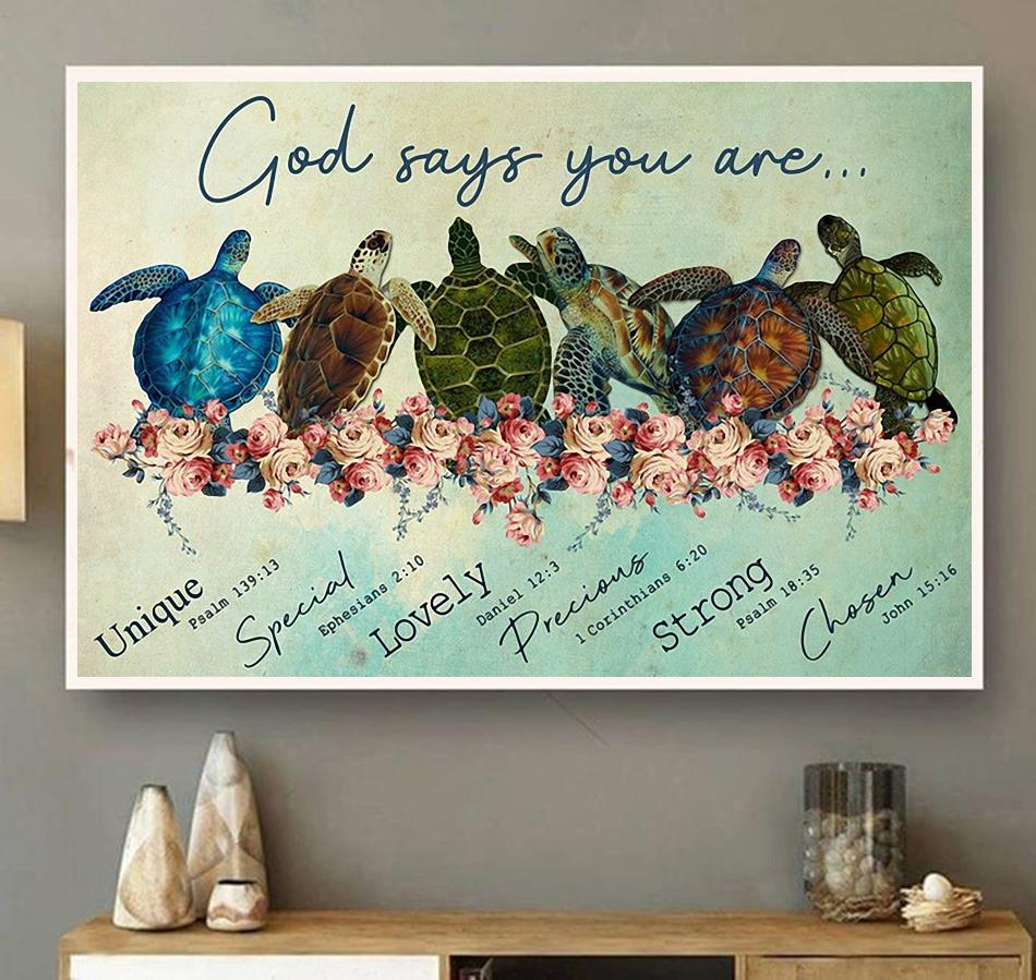 Turtle God says you are unique special lovely precious canvas wall art
