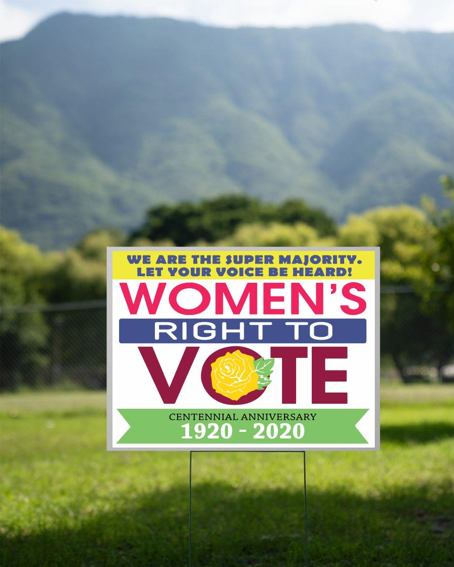 Womens right to vote 1920 - 2020 19th Amendment yard sign 2 sided