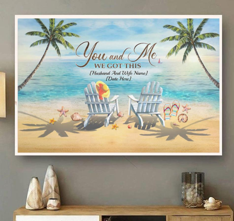 You and me we got this beach ocean canvas wall art