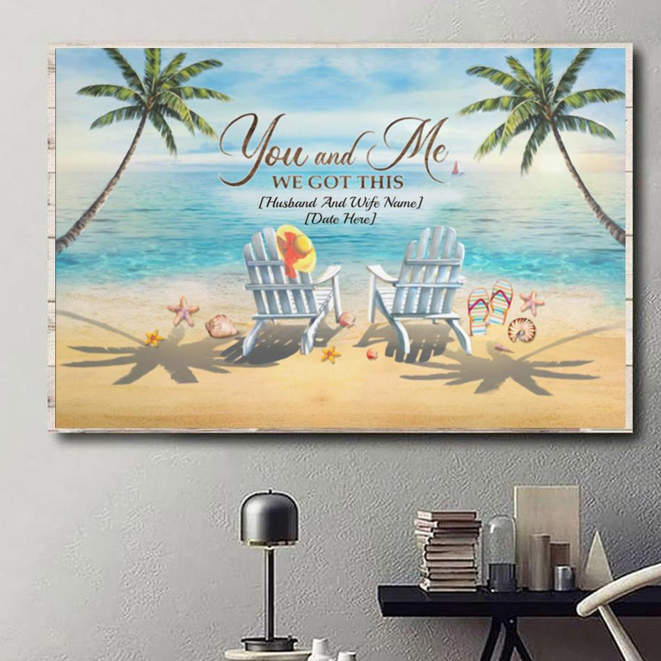 You and me we got this beach ocean canvas