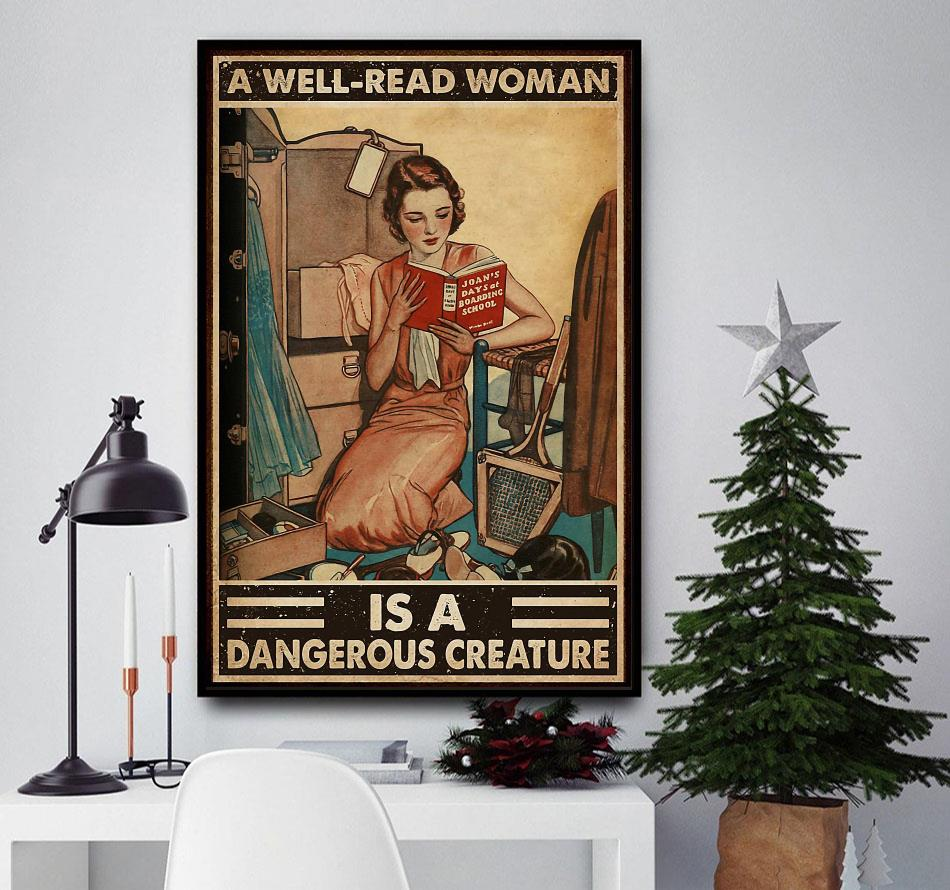 A well read woman is a dangerous creature reading poster canvas