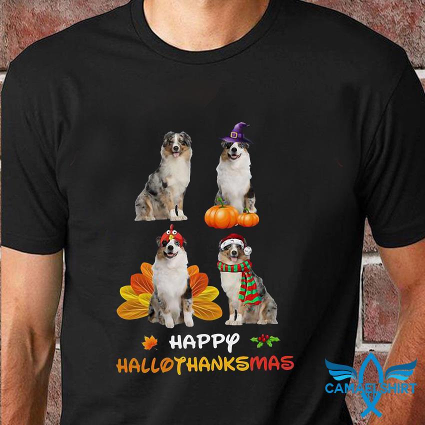 Australian Shepherd happy hallothanksmas t-shirt