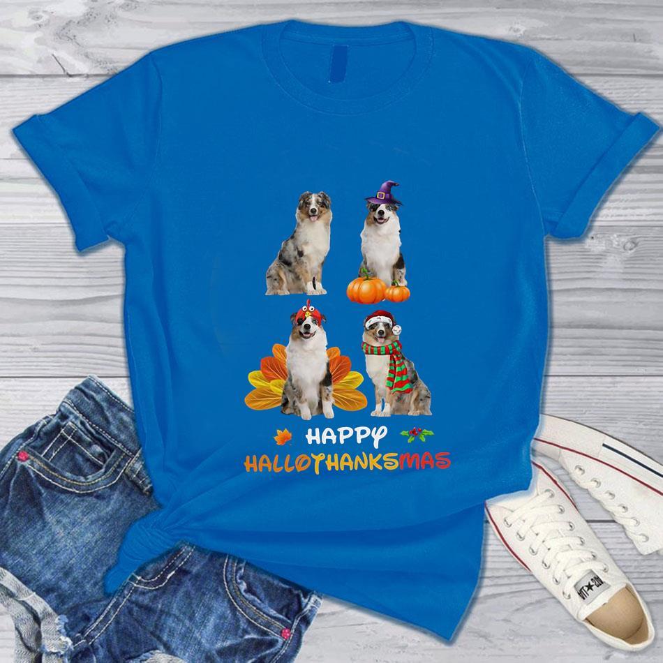 Australian Shepherd happy hallothanksmas t-s blue