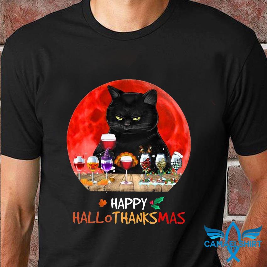 Black cat wine happy hallothanksmas t-shirt