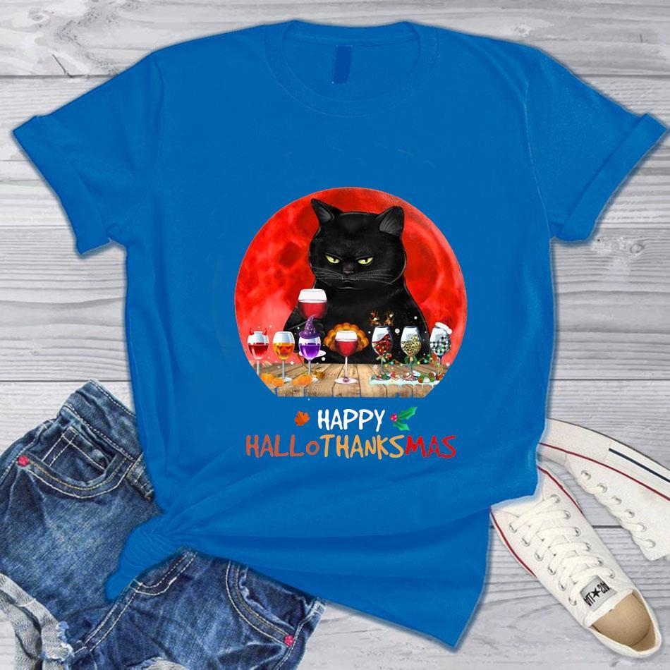 Black cat wine happy hallothanksmas t-s blue