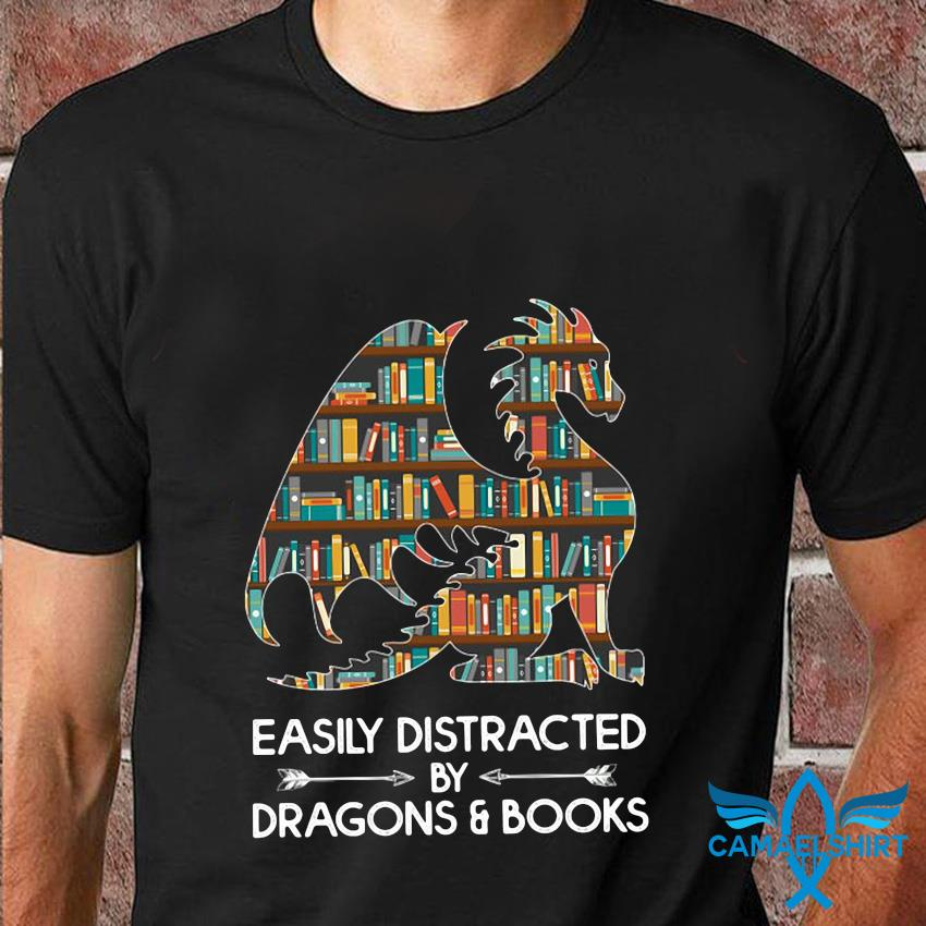 Book lovers easily distracted by dragon and books t-shirt
