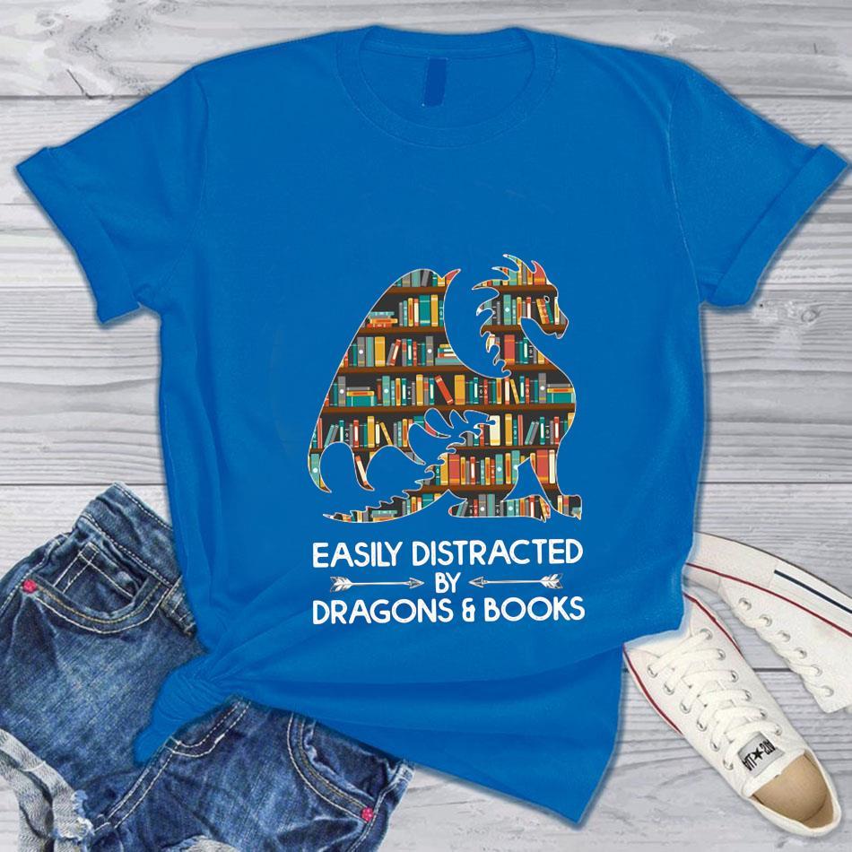 Book lovers easily distracted by dragon and books t-s blue
