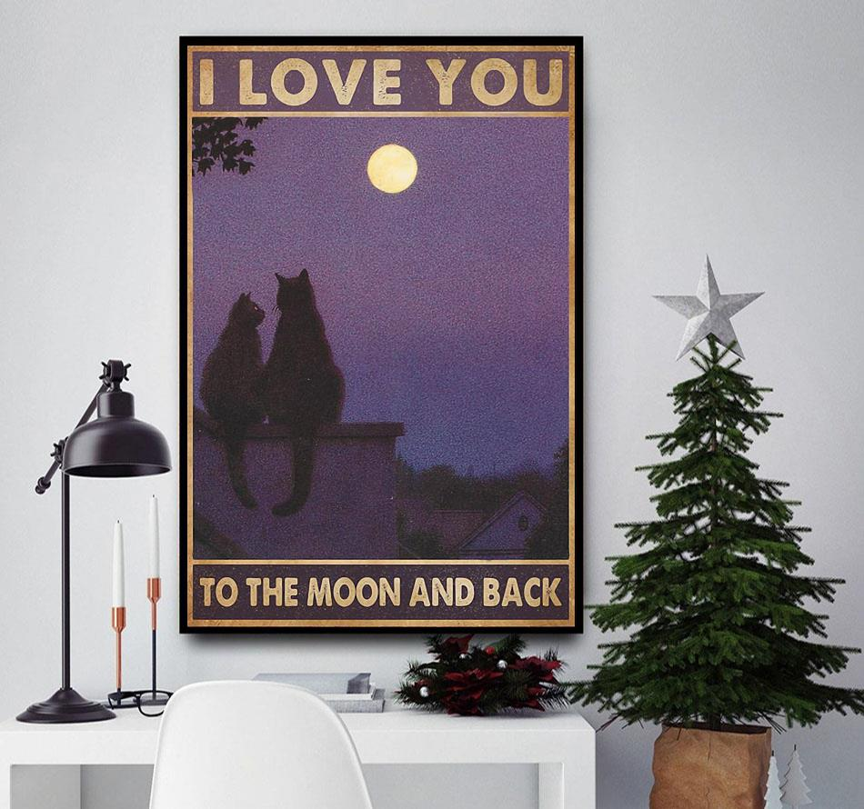 Cat couple I love you to the moon and back poster