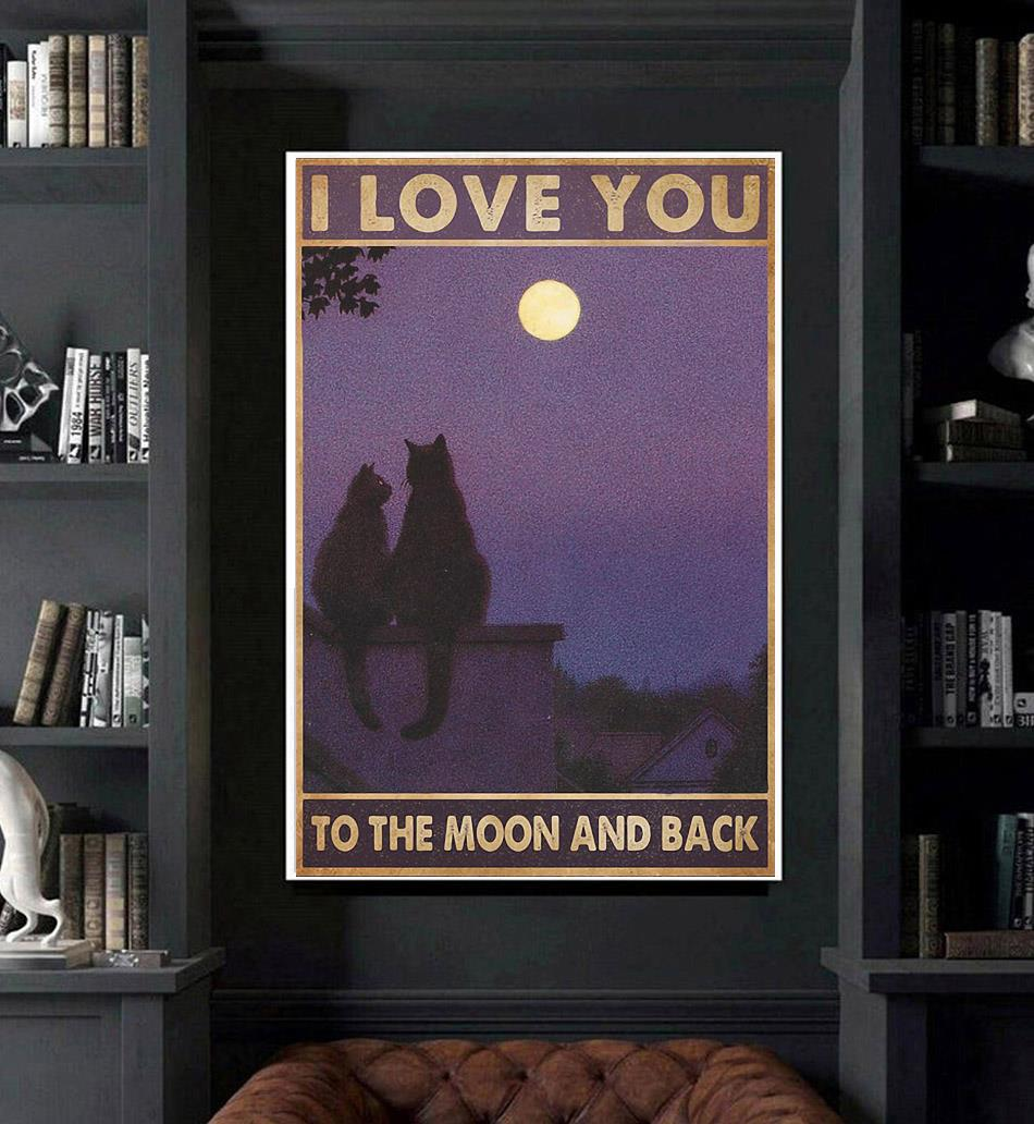 Cat couple I love you to the moon and back poster art