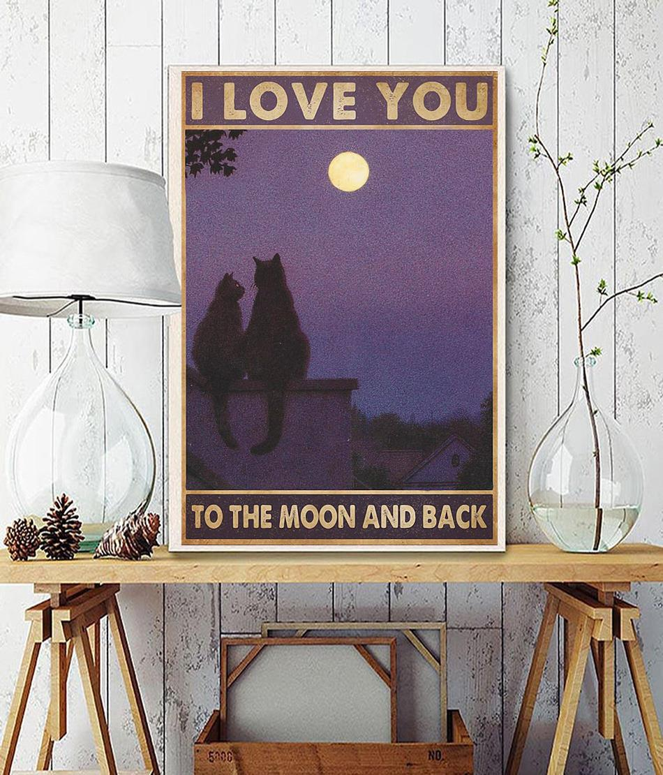 Cat couple I love you to the moon and back poster wall decor
