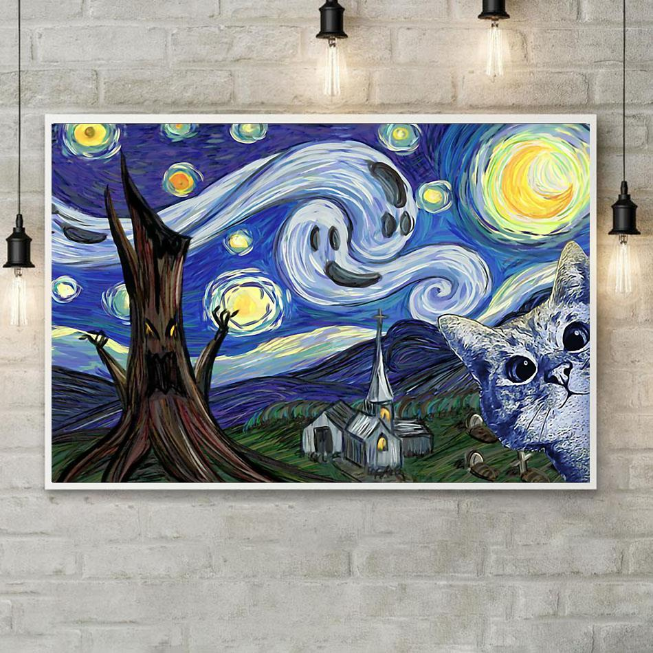Cat Halloween Starry Night poster poster