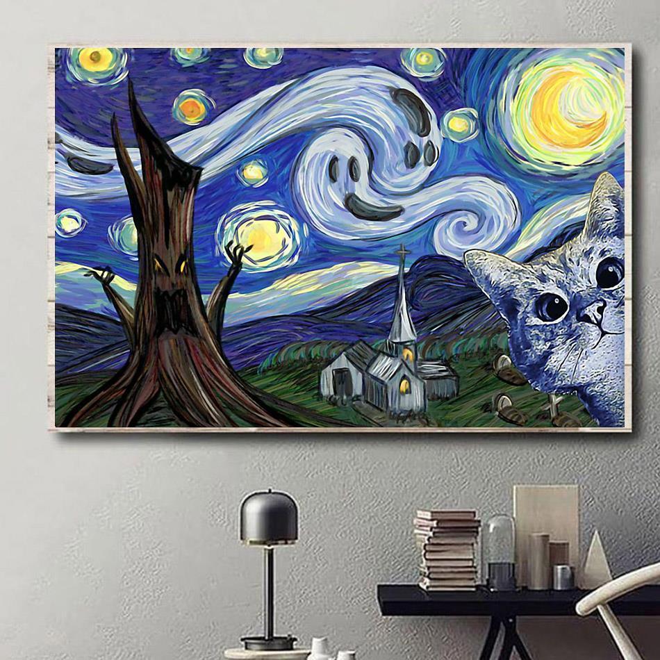 Cat Halloween Starry Night poster