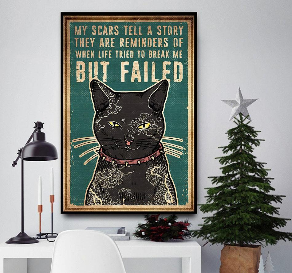 Cat tattoo my scars tell a story poster