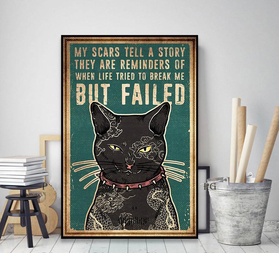 Cat tattoo my scars tell a story poster decor art