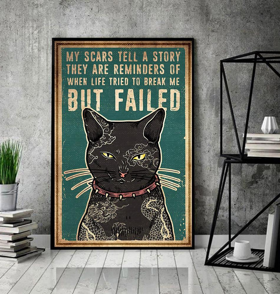 Cat tattoo my scars tell a story poster decor
