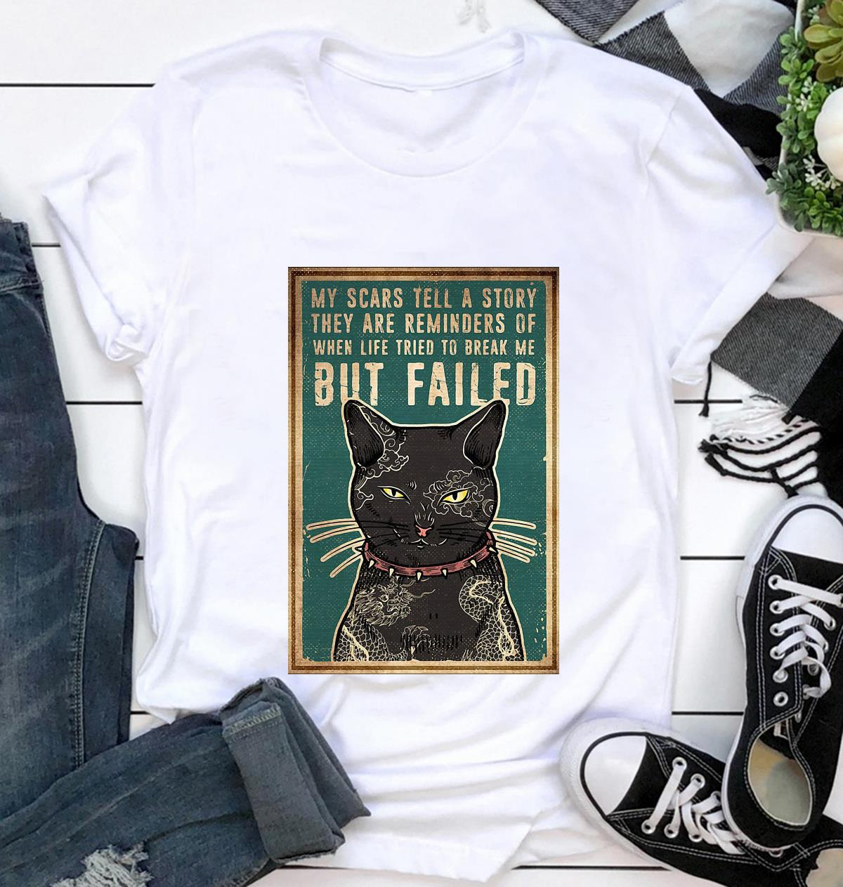 Cat tattoo my scars tell a story poster t-shirt