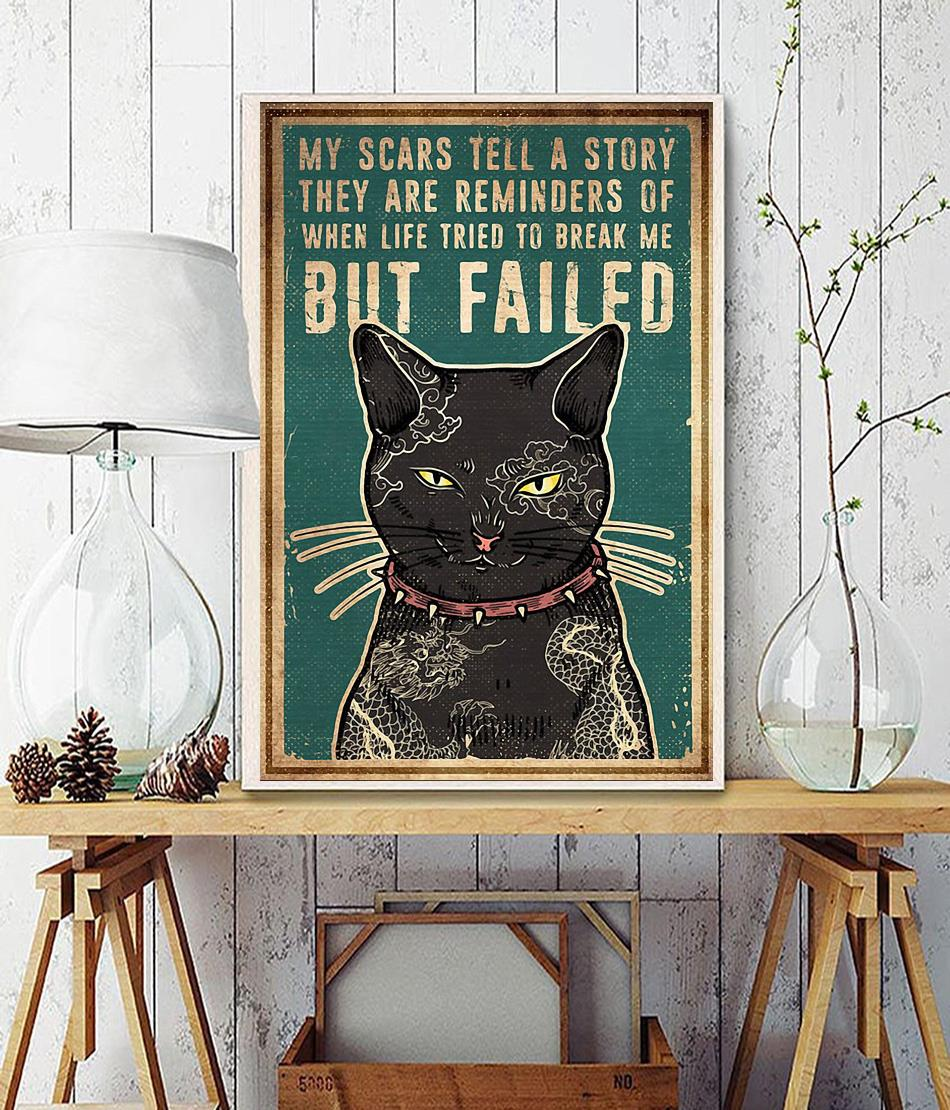 Cat tattoo my scars tell a story poster wall decor