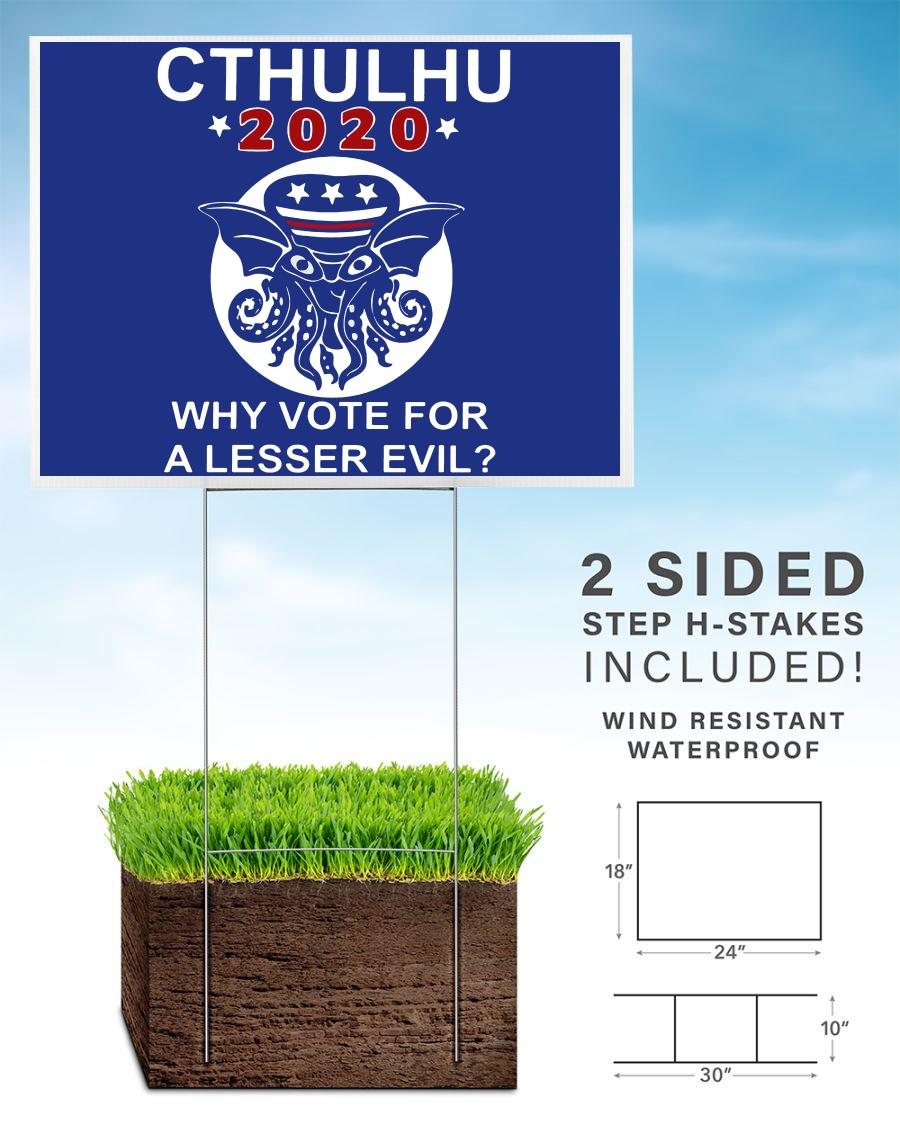 Cthulhu 2020 Lesser Evil funny yard sign