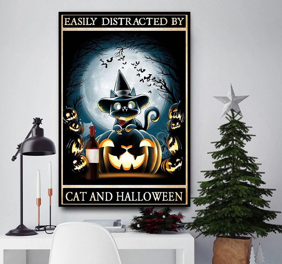 Easily distracted by cats and halloween poster