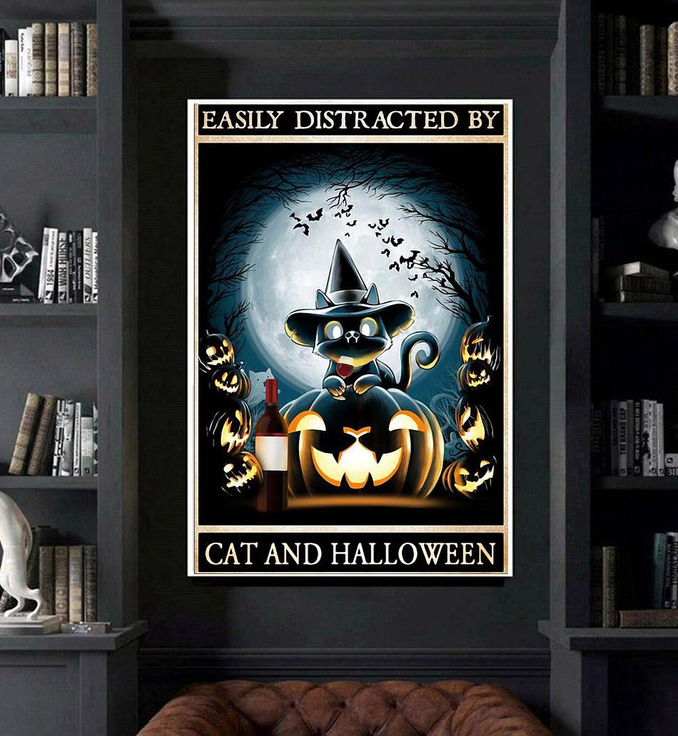 Easily distracted by cats and halloween poster art