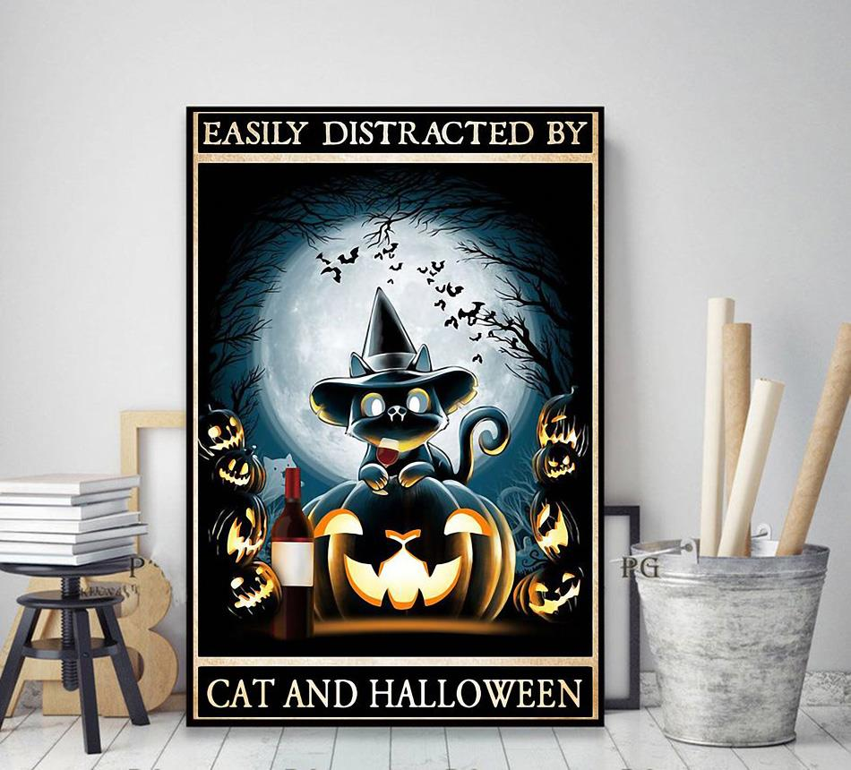 Easily distracted by cats and halloween poster decor art
