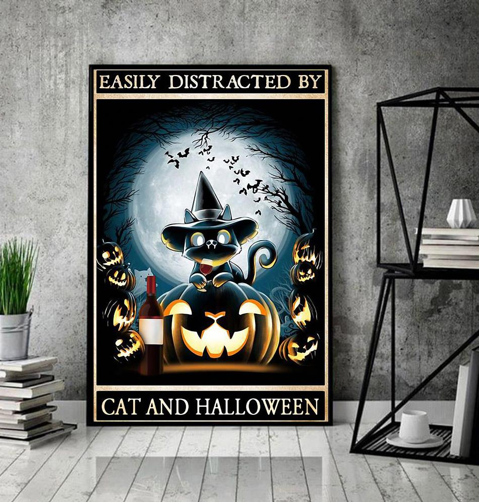 Easily distracted by cats and halloween poster decor