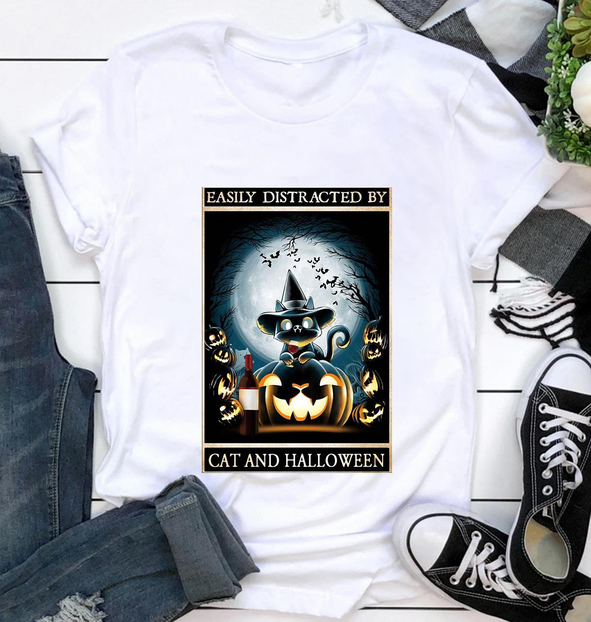 Easily distracted by cats and halloween poster t-shirt
