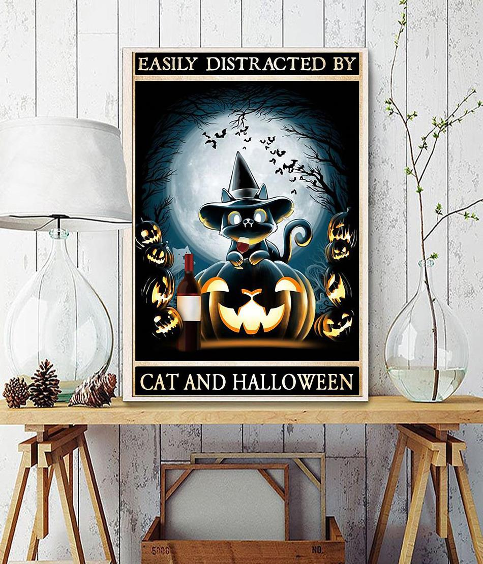 Easily distracted by cats and halloween poster wall decor